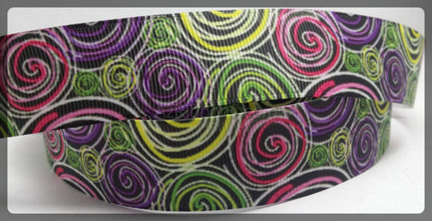 "Artistic Swirls Purple Pink Green Yellow Black Printed Grosgrain Ribbon 1"" Wide Scrap book Hair Bows Parties DIY Projects az141"