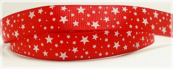 4.75 yd Red with White Stars Grosgrain Ribbon 5/8