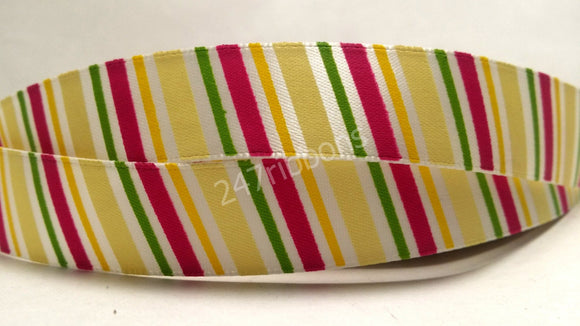 Colorful Vibrant Striped Satin Ribbon 5/8