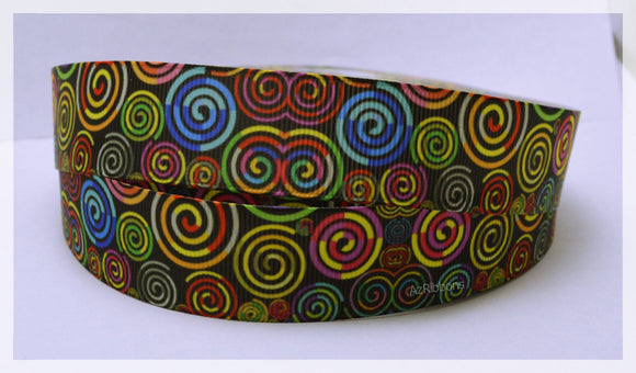 Red Pink Green Yellow Black Artistic Swirls Printed Grosgrain Ribbon 1