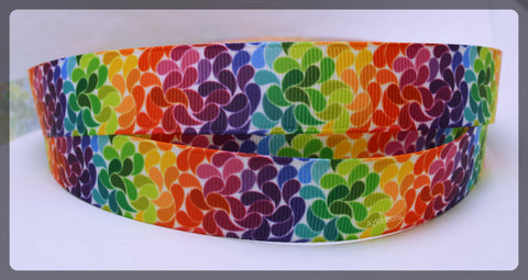 "Rainbow Splashes Mosiac Colorful Artistic Swirls Printed Grosgrain Ribbon 7/8 "" Wide Scrapbooking HairBows Parties DIY Projects az245"