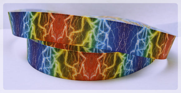 Rainbow Bright Lightning Bolt Colorful Printed Grosgrain Ribbon 7/8