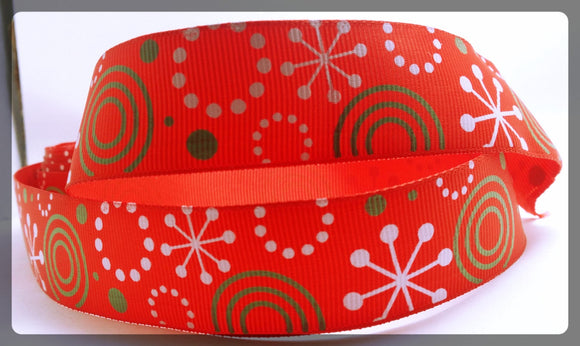 Clearance Christmas Holiday Swirls Green Red and White Printed Grosgrain Ribbon 1
