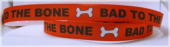 Bad to the Bone Dog Puppy Paws Bones Printed Grosgrain Ribbon 5/8