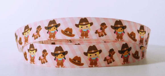 Pink Western Cowgirls Grosgrain Ribbon 7/8