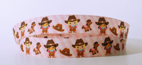 "Pink Western Cowgirls Grosgrain Ribbon 7/8"" Scrapbooking HairBows Parties DIY Projects az291"