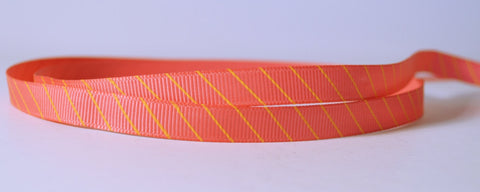 "20 YD Orange-Pink with Yellow Angular Lines Printed Grosgrain Ribbon 3/8"" Scrapbooking HairBows Parties DIY Projects az303"