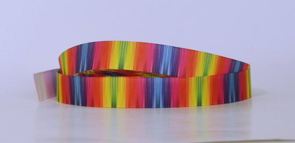 10YD Rainbow Blurred Lines Pattern Colorful Printed Grosgrain Ribbon 7/8