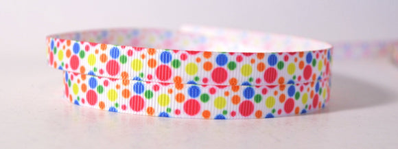 Colored Rainbow Large Small Dots Grosgrain 3/8