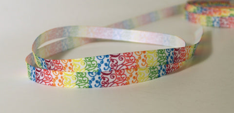 "Rainbow Swirls Printed Grosgrain Ribbon 3/8"" wide Scrapbooking HairBows Parties DIY Projects az481"