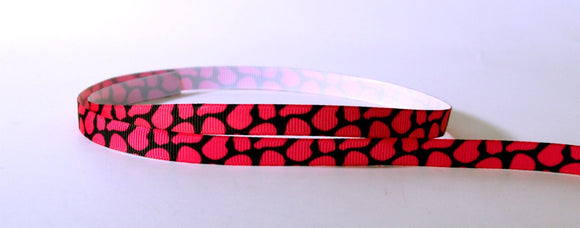 Pink Black Cow Animal Skin Printed Grosgrain Ribbon 3/8