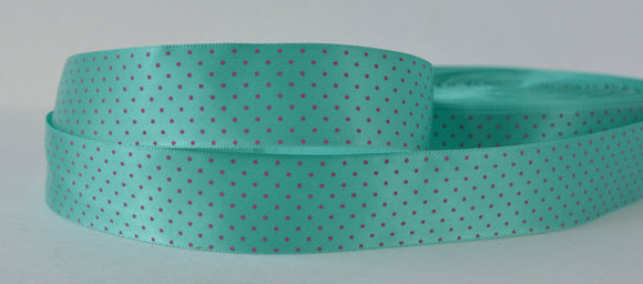 20YD Light Blue Mini Purple Polka Dots Satin Ribbon 1