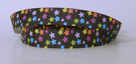 "Stars Printed Black Grosgrain Ribbon 1"" Wide Scrapbooking HairBows Parties DIY Projects az517"