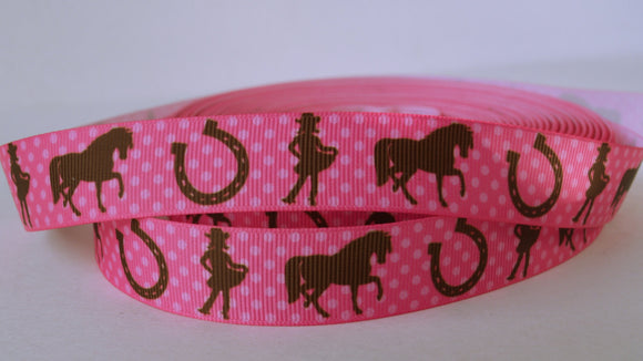 Western Cowgirl Pink Brown Polka Dots Horse Shoe Grosgrain Ribbon 7/8