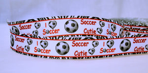 "I love Soccer Cutie Sports Game Zebra Print Pattern Grosgrain Ribbon 1"" Scrapbooking HairBows Parties DIY Projects az536"