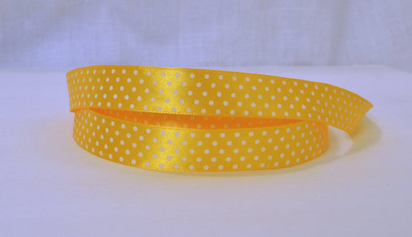 Yellow Satin White Mini Polka Dots Shiny Ribbon 5/8