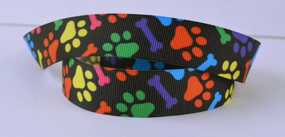 Colorful Dog Puppy Paws Bones Printed Grosgrain Ribbon 5/8