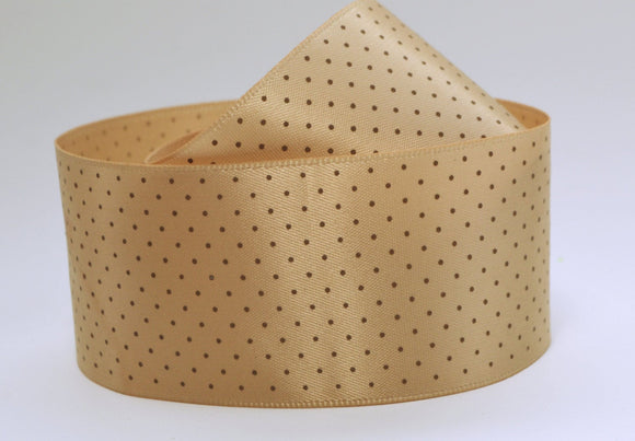 Light Brown Tan Mini Polka Dots Tiny Smooth Satin Ribbon 1.5