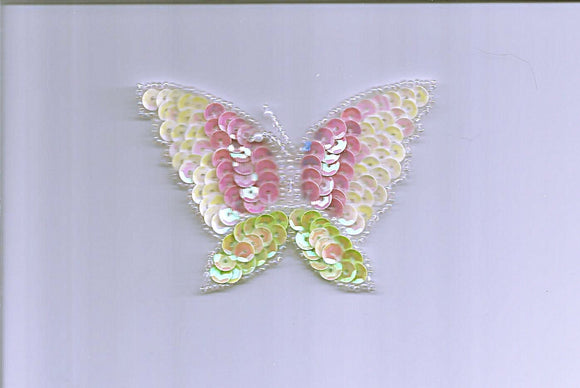 Yellow Pink Light Green Butter Fly Sequin Beads Sew On Embellishment Patch Applique  6046