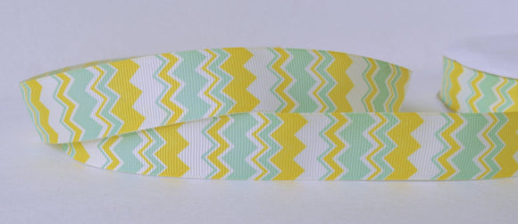 Yellow and Sea Green Aztec Pattern Bold Chevron Zig Zag Printed Grosgrain Ribbon 1