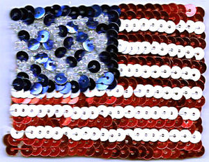 Red White Blue American Flag Patriotic Sequins and Beads Decorated Iron on Patch Applique 6070