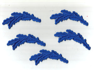 Blue Laurel Leaves Greek 5 pc Embroidered Iron on Patch Applique 6153