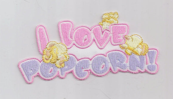 I love Popcorn Pink Purple Embroidered Iron on Patch Applique 6192