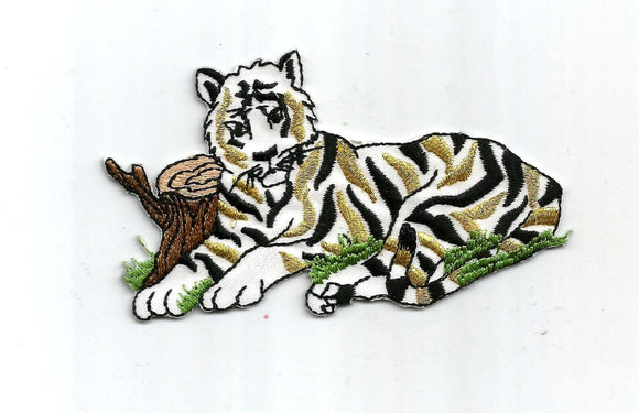 Tiger Gold White Black Embroidered Iron on Patch Applique 6219