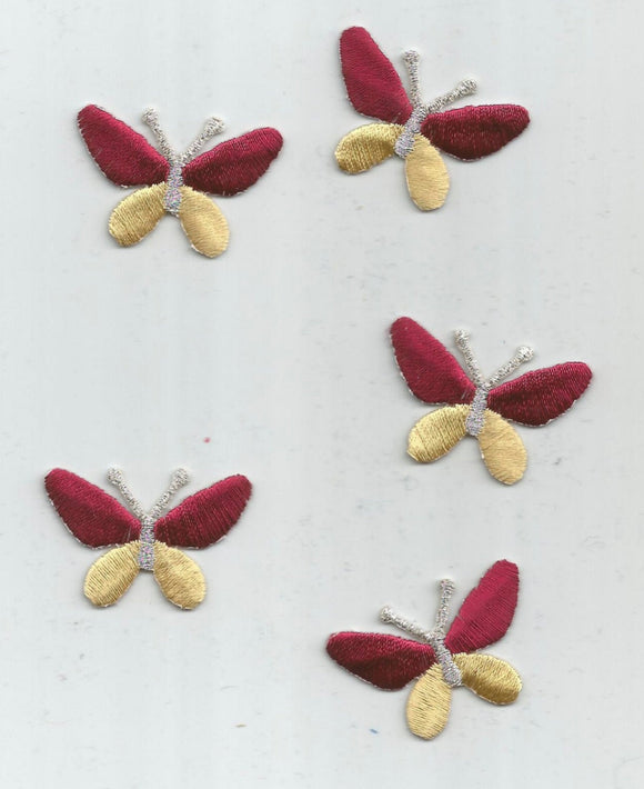 4 PC Yellow and Burgundy Silver Mini Butterflies Embroidered Iron on Patch Applique 6224