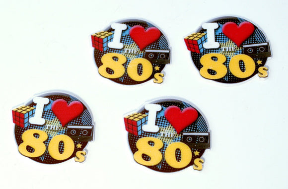 8PC I Love The 80's Cup Cake Toppers Planar Resin