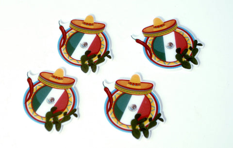 Mexico Sombrero Chiles Cactus Flag Cup Cake Toppers Planar Resin Cabochon Flat back Embellishments Brand Inspired Resin Flat backs az7981
