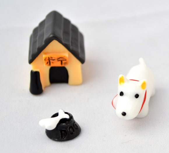 3 PC White Dog House and Bone with Dish Miniature Garden Plants Terrarium Doll House Ornament Fairy Decoration AZ6196