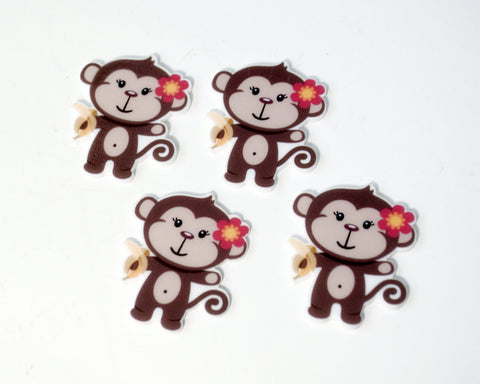 Monkey with Flower and Banana Cup Cake Toppers Planar Resin Flat back Embellishments Inspired az7984