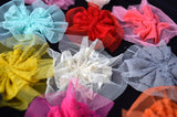 "Ballerina Shabby Fabric Flowers Roses Ruffle Mesh Applique Lace 2.75"" Unfinished Hair Bows DIY Projects az5957"