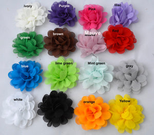 "Grab Bag Assorted Colors 2"" Wide Gathered Flowers Petals Elegant Small Single Romantic Wedding Hair Accessories Bows DIY AZ 6004"