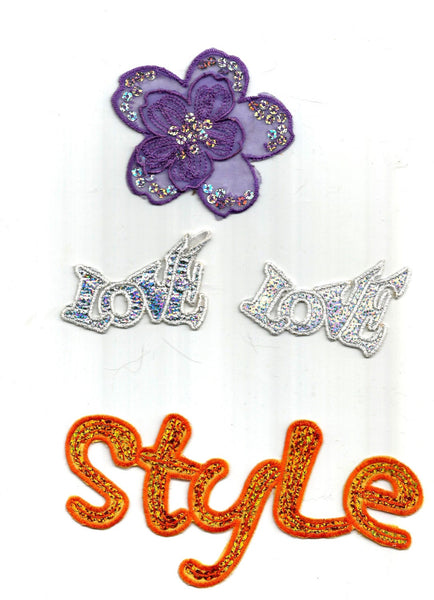 4 PC  Orange Sequin Style Purple Fabric Flower Silver Love Iron On Patch Applique 52316