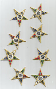 8 PC Gold Embroidered white Blue red Green Stars Shapes Embroidered Iron on Patch Applique 6197