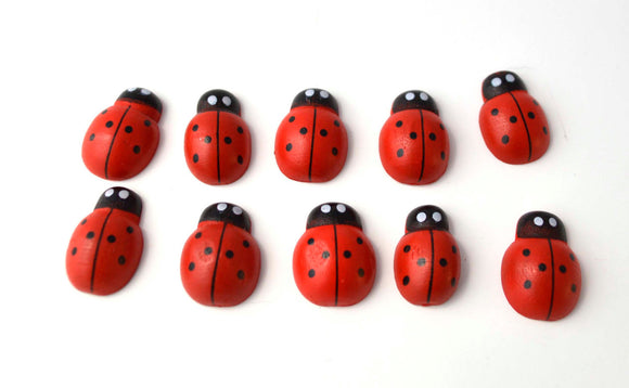 Red Black White Lady Bug Ladybugs insects Wooden Pieces Scrap Book Craft  az473