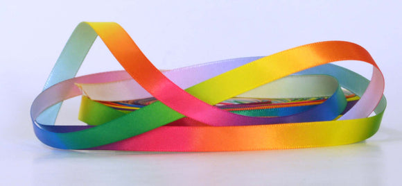 Rainbow Colored Blended Satin Ribbon 3/8