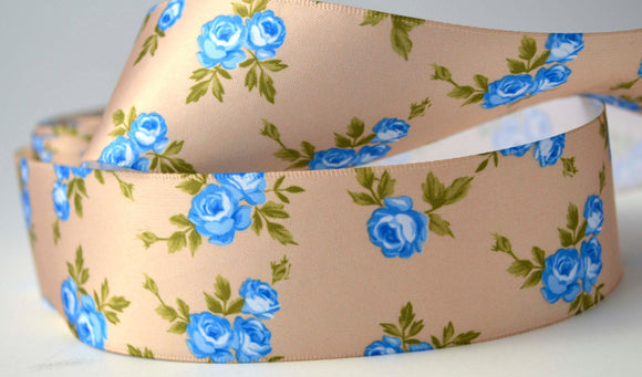 10.75 YD Blue Flowers and Gold Satin Ribbon 1.5