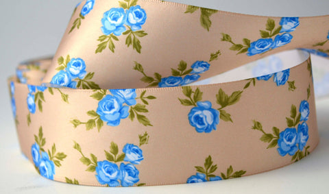 "10.75 YD Blue Flowers and Gold Satin Ribbon 1.5"" Wide Scrapbooking HairBows Parties DIY Projects az249"