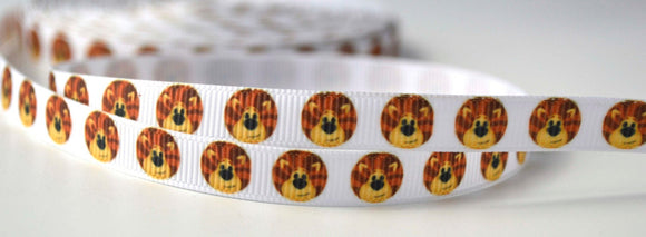 Lion Face Head Jungle White Drawing Cartoon Printed Grosgrain Ribbon 3/8