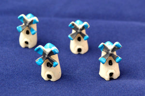 6 PC Blue Windmill Tower Miniature  DollHouse Ornament Decoration az6285