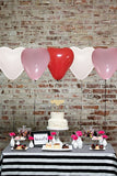 Heart Shaped Balloons 12 inches Latex Balloons 100 pc White Pink Red BONUS Hand Air Pump