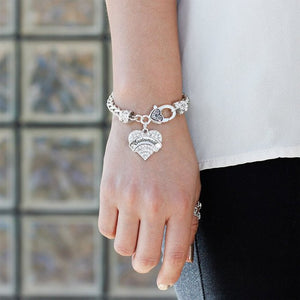 Silver Tone Bridesmaid Gift Bracelets Pave Heart Silver Plated Lobster Clasp