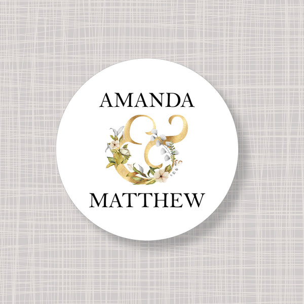 "Gold Name Ampersand Round 2"" Wedding Shower Gift Labels Stickers"