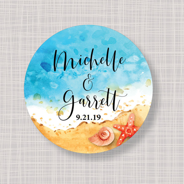 "Tropical Beach & Starfish Round 2"" Wedding Shower Gift Labels Stickers"