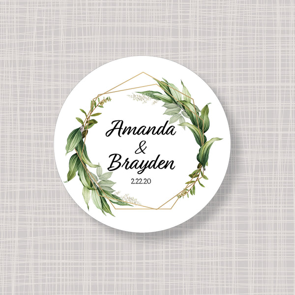"Botanical Greenery Round 2"" Wedding Shower Gift Labels Stickers"