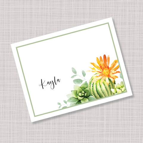 Cactus Succulents Orange Flower Note Cards