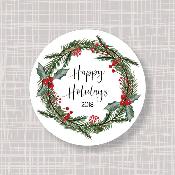 "Christmas Wreath Holly & Berries Round 2"" Labels Stickers"